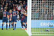 Moussa DIABY (PSG) scored a goal and celebrated it in arms of Edinson Roberto Paulo Cavani Gomez (El Matador) (El Botija) (Florestan) (PSG), Julian Draxler (PSG), Angel Di Maria (PSG), Thomas Meunier (PSG) during the French Championship Ligue 1 football match between Paris Saint-Germain and AS Saint-Etienne on September 14, 2018 at Parc des Princes stadium in Paris, France - Photo Stephane Allaman / ProSportsImages / DPPI