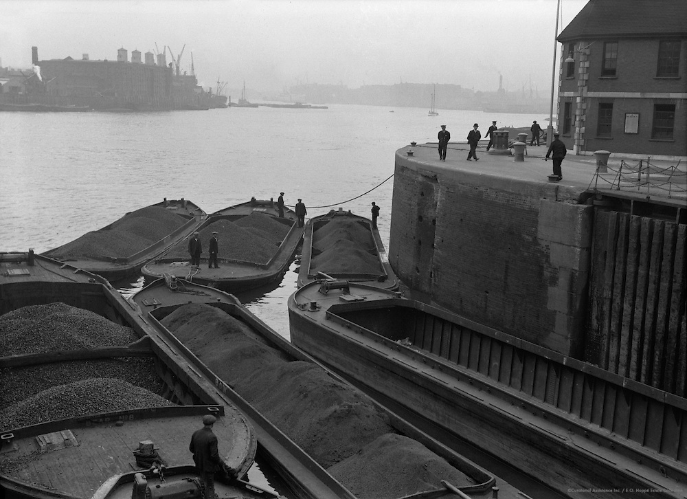 Coal Barges on River Thames, London, 1934