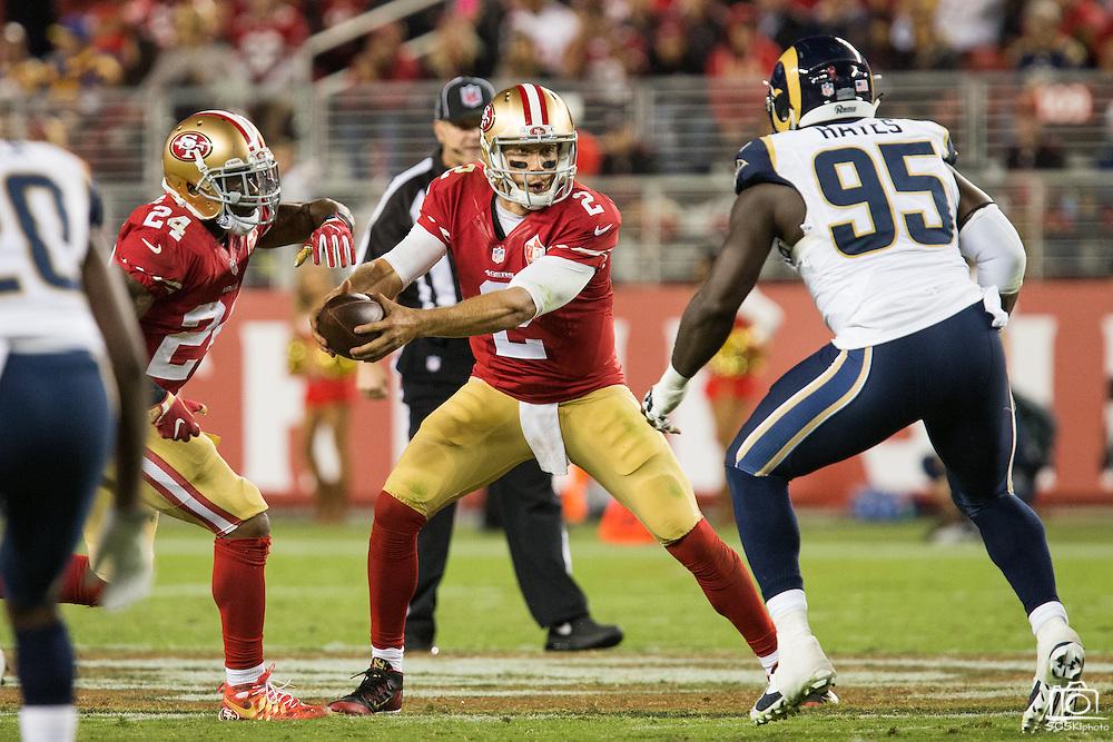 San Francisco 49ers quarterback Blaine Gabbert (2) fakes a handoff against the Los Angeles Rams at Levi's Stadium in Santa Clara, Calif., on September 12, 2016. (Stan Olszewski/Special to S.F. Examiner)