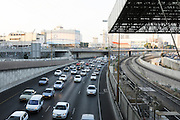 Israel, Tel Aviv, HaShalom train station The traffic on Ayalon highway as seen from the station