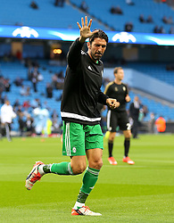 Gianluigi Buffon of Juventus waves to the fans before the UEFA Champions League group stage match between Manchester City and Juventus at the Etihad Stadium - Mandatory byline: Matt McNulty/JMP - 07966386802 - 15/09/2015 - FOOTBALL - Etihad Stadium -Manchester,England - Manchester City v Juventus - UEFA Champions League - Group D