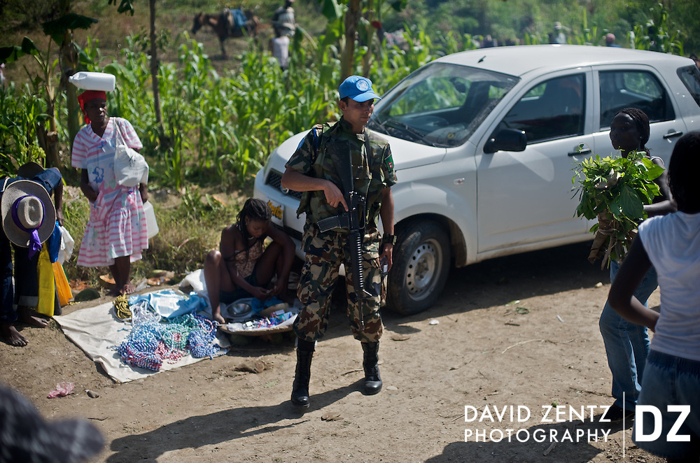 A UN guard patrols during the annual voodoo festival held at the Saut D'eau waterfalls on July 15, 2008. The UN maintains a presence throughout the country, even in remote villages.