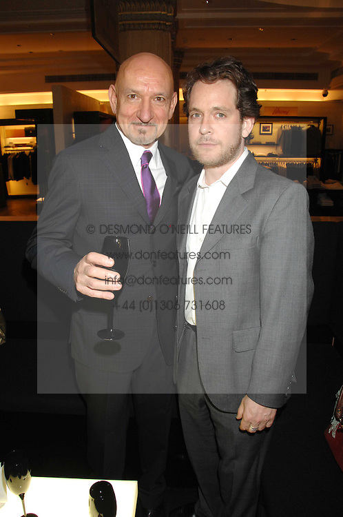 Left to right,  SIR BEN KINGSLEY and TOM HOLLANDER at a party to celebrate the 5th anniversary of Grand Classics held at the Dom Perignon OEnotheque Bar at Harrods, Knightsbridge, London on 14th February 2008.<br />
