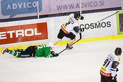 Kristjan Cepon of HDD Olimpija and Olivier Magnan of Dornbirn during ice-hockey match between HDD Olimpija Ljubljana and Dornbirn Buldogs in EBEL League 2016/17, on February 4th, 2017 in Hala Tivoli, Ljubljana, Slovenia. Photo by Grega Valancic / Sportida