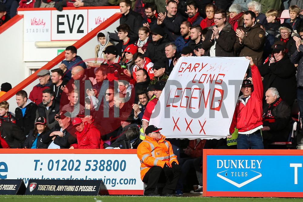 Bournemouth fans hold a sign saying Gary Long Legend - Mandatory by-line: Jason Brown/JMP - Mobile 07966 386802 07/02/2016 - SPORT - FOOTBALL - Bournemouth, Vitality Stadium - AFC Bournemouth v Arsenal - Barclays Premier League