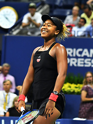 September 6, 2018 - Flushing Meadow, NY, U.S. - FLUSHING MEADOW, NY - SEPTEMBER 06:  Naomi Osaka (JPN) smiles as she walks to the net after winning her semi-final match in the Women's Singles Championships at the US Open on September 06, 2018, at the Billie Jean King Tennis Center in Flushing Meadow, NY. (Photo by Cynthia Lum/Icon Sportswire) (Credit Image: © Cynthia Lum/Icon SMI via ZUMA Press)