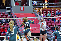 BLOOMINGTON, IL - October 12: Marissa Stockman during a college Women's volleyball match between the ISU Redbirds and the Valparaiso Crusaders on October 12 2018 at Illinois State University in Bloomington, IL. (Photo by Alan Look)