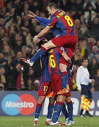 FC Barcelona's Leo Messi, Sergio Busquets, Pedro Rodriguez and Andres Iniesta celebrate goal during UEFA Champions League match.March 8,2011.