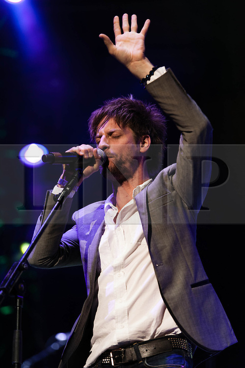"""© Licensed to London News Pictures. 16/09/2012. London, UK.  Steve Balsamo performs at The Sunflower Jam at the Royal Albert Hall.  The Sunflower Jam is a British charity, founded by Jacky Paice, wife of Deep Purple drummer, Ian Paice. Other high-profile supporters are the actor Jeremy Irons, ex-Jamiroquai bassist Nick Fyffe and Charles, Prince of Wales. The aims of the charity are to fund complementary therapists and spiritual healers to work on cancer wards in the British National Health Service. After setting up a meeting between members of Deep Purple and a young boy dying of leukemia, Paice saw """"all the good work the healers were doing"""" and decided """"lets find a way to raise money to get more healers in there.  Steve Balsamo is a Welsh singer/songwriter, famous for his role in the musical Jesus Christ Superstar.  Photo credit : Richard Isaac/LNP"""