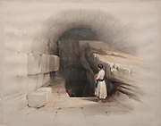 Fountain of Siloam, Valley of Jehoshaphat, Jerusalem 1839. Color lithograph by David Roberts (1796-1864). An engraving reprint by Louis Haghe was published in a the book 'The Holy Land, Syria, Idumea, Arabia, Egypt and Nubia. in 1855 by D. Appleton & Co., 346 & 348 Broadway in New York.