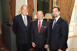 A party to promote the exclusive Puntacana Resort & Club - the Caribbean's Premier Golf & Beach Resort Destination, was held at Spencer House, London on 13th May 2010.<br /> <br /> Picture shows:- Left to right, OSCAR DE LA RENTA, FRANK RAINIERI and FRANK ELIAS RAINIERI