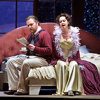 Picture shows :  Roland Wood (as Robert Storch ) and German soprano Anita Bader (as his wife Christine) during rehearsal of Richard Strauss's 'Intermezzo' for Scottish Opera. The Theatre Royal, Glasgow. .17/3/2011...Picture Drew Farrell..Tel : 07721-735041..Opening at the Theatre Royal, Glasgow on 26 March 2011...Conductor  Francesco Corti.Director   Wolfgang Quetes.Designer   Manfred Kaderk.Lighting       Matthias Hönig