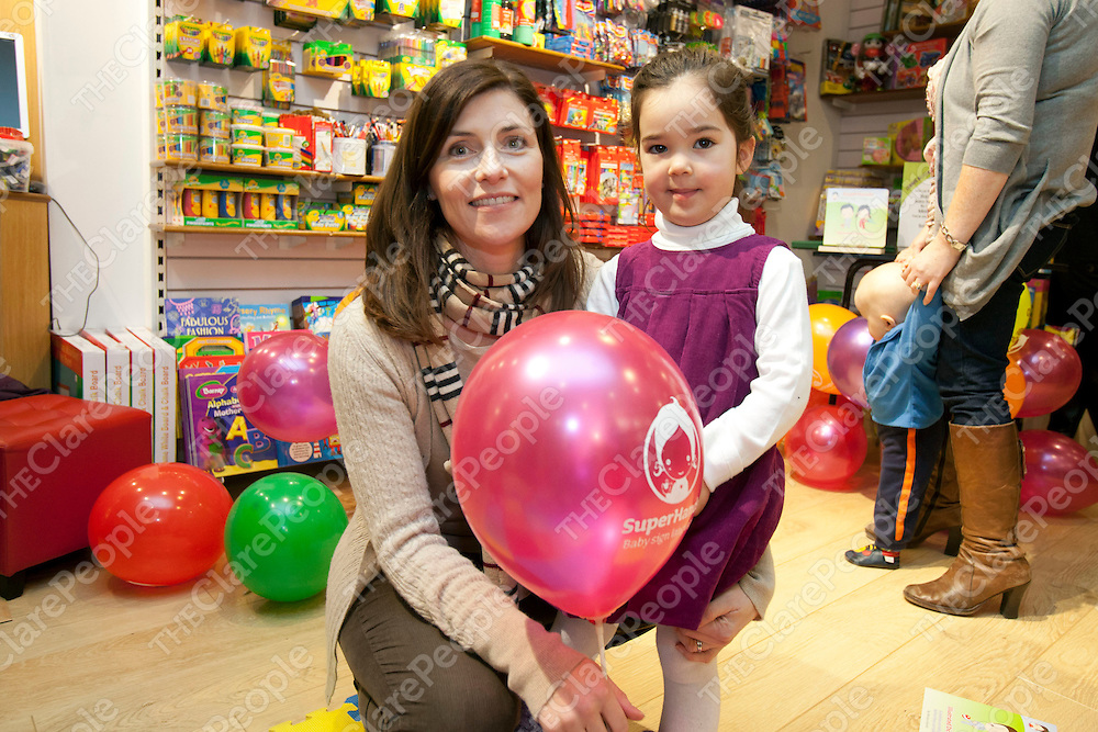 21/01/12<br /> Joanne and Eabha Reen pictured at the launch of Superhands by Miriam Devitt which took place at Ennis Bookshop on Saturday.<br /> Pic: Don Moloney/Press 22