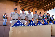 08 OCTOBER 2013 - PHOENIX, AZ: Members of Veterans Of Foreign Wars honor guard present the urns containing the cremated remains of US military veterans. The cremated remains of 36 unclaimed US military veterans were interred at the National Memorial Cemetery in Phoenix. Members of the US military and several hundred veterans of the US military attended the service, which was a part of the Missing In America Project (MIAP).    PHOTO BY JACK KURTZ
