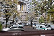 = La Courneuve , cite of 4000. daily life around the building Balzac.   suburb of Paris  France   /// La Courneuve, cite des 4000 , la vie quotidienne dans la barre Balzac   Paris  France +