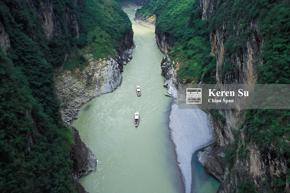 Landscape of Daning River through steep mountains, Lesser Three Gorges, Yangtze River, China