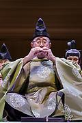Tokyo, November 29 2016 - Rehearsal of Reigakusha Gagaku Concert at Tokyo Opera City Concert Hall. Part 1: Rodai ranbu.