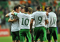 Football -  UEFA EURO2012 Qualifying Play-off, 1st leg - Estonia v Republic of Ireland <br /> Republic of Ireland's Keith Andrews, left, celebrates after scoring his side's first goal with team-mates Stephen kelly, hidden, Robbie Keane, Jonathan Walters and Aiden McGeady.