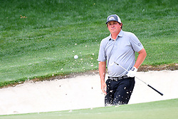 May 3, 2019 - Charlotte, North Carolina, U.S. - Jason Dufner watches his ball as it comes out of the bunker on hole 15 in round two of the Wells Fargo Championship on May 03, 2019 at Quail Hollow Club in Charlotte. (Credit Image: © Dannie Walls/Icon SMI via ZUMA Press)