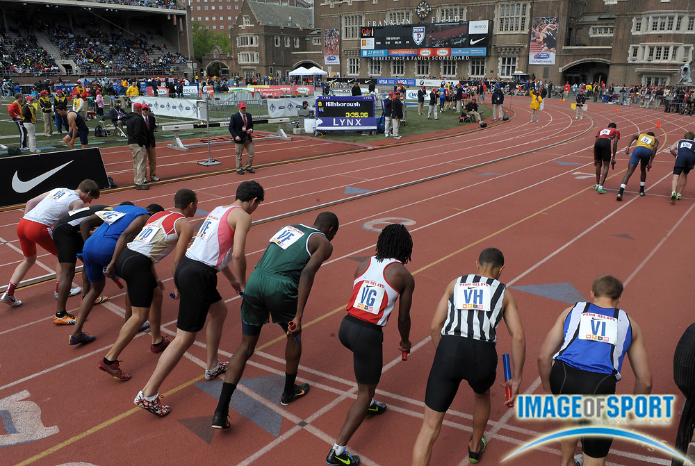 Apr 28, 2012; Philadelphia, PA, USA; General view of the start of a boys 4 x 400m relay heat in the 118th Penn Relays at Franklin Field.