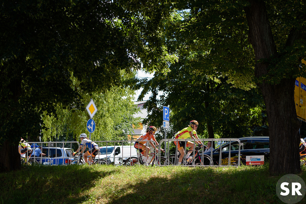 Race leader, Ellen van Dijk makes her way to sign in at Thüringen Rundfarht 2016 - Stage 6 a 130 km road race starting and finishing in Schleiz, Germany on 20th July 2016.
