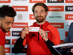 CARDIFF, WALES - Thursday, August 31, 2017: Wales' Joe Allen during the 2nd round draw for the FAW Welsh Premier League Cup at the Vale Resort. (Pic by David Rawcliffe/Propaganda)