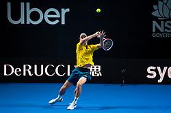 January 7, 2019 - Sydney, NSW, U.S. - SYDNEY, AUSTRALIA - JANUARY 07: John Millman (AUS) hits a backhand at The Sydney FAST4 Tennis Showdown on January 07, 2018, at Qudos Bank Arena in Homebush, Australia. (Photo by Speed Media/Icon Sportswire) (Credit Image: © Steven Markham/Icon SMI via ZUMA Press)
