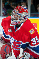 KELOWNA, CANADA -JANUARY 29: Eric Williams G #35 of the Spokane Chiefs warms up against the Kelowna Rockets on January 29, 2014 at Prospera Place in Kelowna, British Columbia, Canada.   (Photo by Marissa Baecker/Getty Images)  *** Local Caption *** Eric Williams;