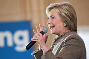 February 26, 2016 - Atlanta, Georgia: Hillary Clinton rerouted her Atlanta campaign stop at the last minute to City Hall after orginally planning a rally at nearby Georgia State.  In the old council chambers she rallied her supporters with Mayor Kasim Reed, who's endorsed the former secretary of state, before South Carolina's primary and a crucial Super Tuesday in which Georgians will cast their primary votes. <br />