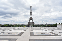 Place du Trocadero, Eiffel Tower on the 43rd day of lockdown to prevent the spread of Covid-19. Paris, France on April 28, 2020. Photo by Vincent Gramain/ABACAPRESS.COM