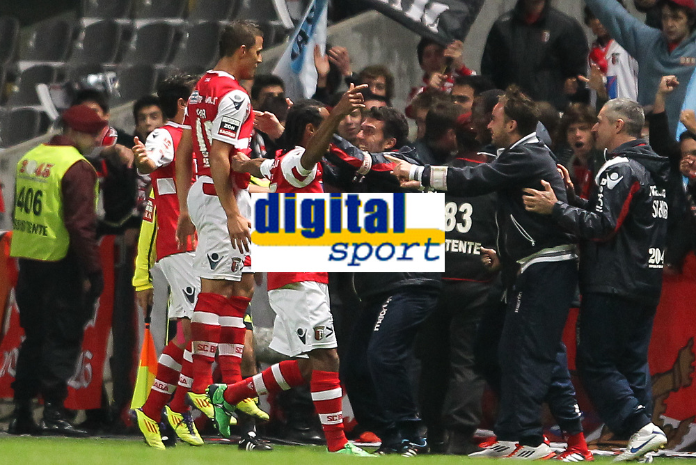 20111106: BRAGA, PORTUGAL - SC Braga vs SL Benfica: Liga Zon Sagres 10th Round 2011/2012. In picture: Braga players celebrate a goal. PHOTO: Pedro Benavente/CITYFILES