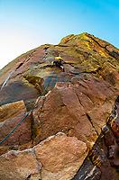 Rock climbing, Eldorado Canyon State Park, Eldorado Springs, near Boulder, Colorado USA. Eldorado Canyon is a world famous trad rock climbing area.