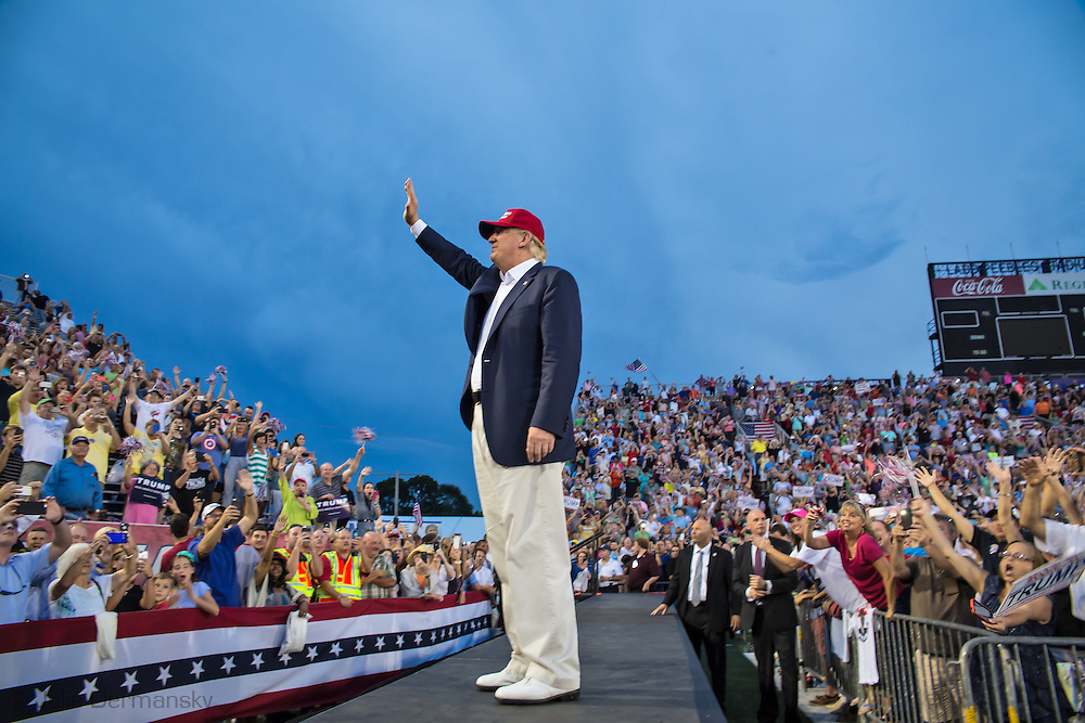 Aug. 21. 2015 Mobile, AL, Republican presidential candidate and business mogul Donald Trump enters his campaign pep rally in Ladd Peebles Stadium. Around 20 thousand came to the Ladd-Peebles Stadium to attend Trumps campaign pep rally. People were asked not to bring signs.