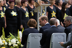 Hyde Park, London, July 7th 2015. Families of the victims and survivors of the 7/7 bombings in London gather at Hyde Park and are joined by the Duke of Cambridge Prince William at an emotional service commemorqating the Islamist terrorist bombing outrage that happened on London's transport network, claiming 57 lives and left scores of people injured. PICTURED: Prince William speaks with Tessa Jowell.