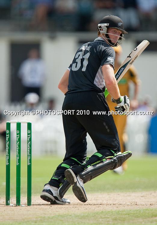 Martin Guptill bats during the third one day Chappell Hadlee cricket series match between New Zealand Black Caps and Australia at Seddon Park, Hamilton, New Zealand. Tuesday 9 March 2010. Photo: Stephen Barker/PHOTOSPORT
