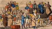 View in the yard of the Bull & Mouth, a London coaching inn, showing Bob taking leave of his friends Tom and Jerry before boarding the stagecoach.  Hand-coloured engraving from 'Life in London' by Pierce Egan (London, c1820).