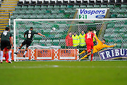 Plymouth Argyle's Reuben Reid sends York City Goalkeeper Scott Flinders the wrong way to score a penalty to give the home team a 2-0 lead during the Sky Bet League 2 match between Plymouth Argyle and York City at Home Park, Plymouth, England on 28 March 2016. Photo by Graham Hunt.