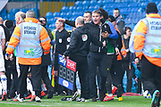 Phil Parkinson of Bolton Wanderers (Manager) reacts angrily whilst speaking to the forth official after getting involved in a touchline altercation during the EFL Sky Bet Championship match between Leeds United and Bolton Wanderers at Elland Road, Leeds, England on 23 February 2019.