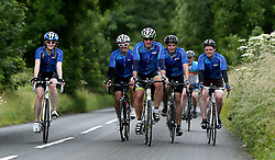 Cyclists climb Bannerdown Hill during 111 mile cycling challenge organised by the Community Foundations of Bristol and Gloucester Rugby - Mandatory by-line: Robbie Stephenson/JMP - 03/07/2016 - CYCLING - Bannerdown - Bath, United Kingdom - Break The Cycle Challenge 2016