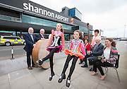 **NO REPRO FEE** 26042016 Fleadh Cheoil na hÉireann Inis 2016 lifts off as Shannon Airport comes on board as main sponsor. At the announcement were Aimee and Zoe Keane dancing to the music of three generations of the Droney Family, Ann Droney Kirrane, Chris Droney and Ciara Droney and from left (back) Mícheál Ó Riabhaigh, Chairman Fleadh Cheoil Executive Committee, Pádraig O Dufaigh, National Treasure Comhaltas Ceoltóiri Éireann, Mary Considine acting CEO Shannon Group, Zoe Keane,Dancer, Frank Whelan,Vice Chairman Fleadh Executive Committee and Rose Hynes, Chair Shannon Group. Photograph by Eamon Ward (Further information available from Eugene Hogan 0872497290 eugene.hogan@bridgepr.ie)