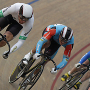 Peter Lewis, Australia, (left), in action during the Men's Keirin event at the 2012 Oceania WHK Track Cycling Championships, Invercargill, New Zealand. 21st November 2011. Photo Tim Clayton