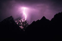 Lightning strikes Mount Owen in Grand Teton National Park, Jackson Hole, Wyoming.