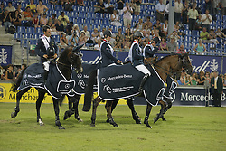 Team FRA winners of the Mercedes-Benz Preis part of the Meydan FEI Nations Cup<br /> Leprevost Pénélope, Bost Roger Yves, Anciaume Timothée, Staut Kevin, chef d'equipe Elias Laurent<br /> CHIO Aachen 2009<br /> Photo © Dirk Caremans