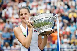 Aegon International 2017- Eastbourne - England. Karolina Pliskova of Czech Republic, winner of the WTA women's singles final against Caroline Wozniacki. Saturday, 1st, July, 2017 - Devonshire Park.<br /> (Photo by Nick Walker/Sport Picture Library)