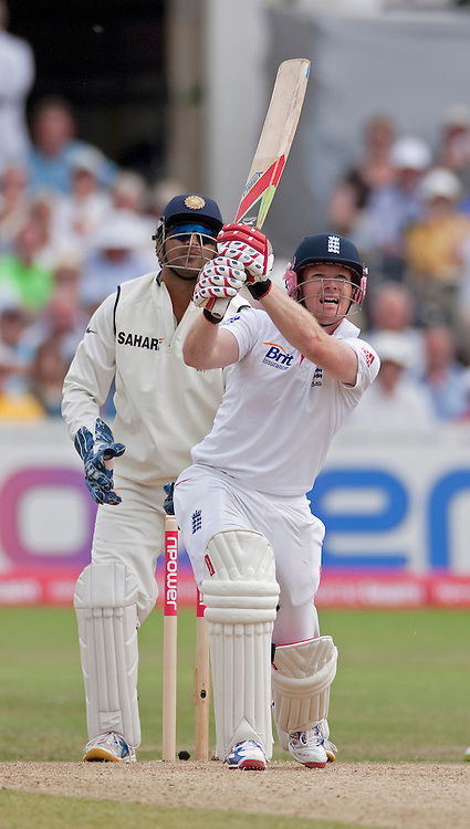 Eoin Morgan reaches his half-century with this six off Harbhajan Singh during the second npower Test Match between England and India at Trent Bridge, Nottingham.  Photo: Graham Morris (Tel: +44(0)20 8969 4192 Email: sales@cricketpix.com) 31/07/11