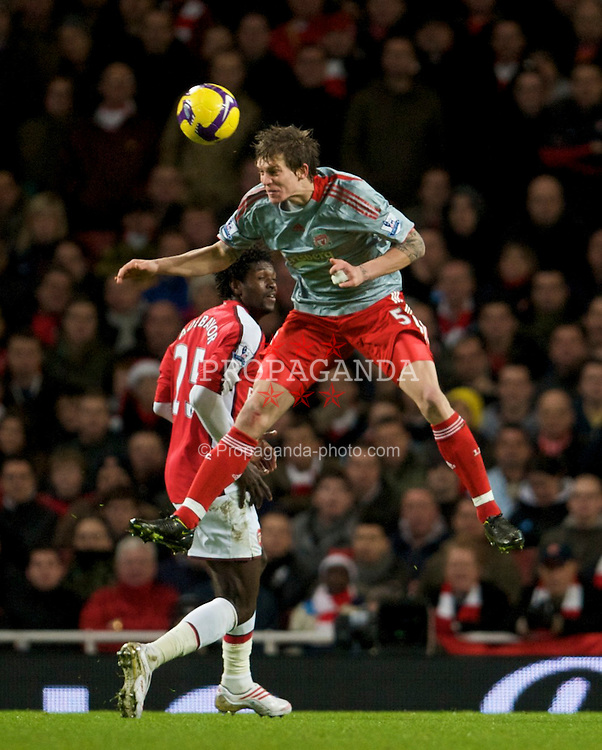 LONDON, ENGLAND - Sunday, December 21, 2008: Liverpool's Daniel Agger in action against Arsenal during the Premiership match at the Emirates Stadium. (Photo by David Rawcliffe/Propaganda)