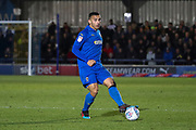 AFC Wimbledon defender Rod McDonald (4) passing the ball during the EFL Sky Bet League 1 match between AFC Wimbledon and Doncaster Rovers at the Cherry Red Records Stadium, Kingston, England on 14 December 2019.