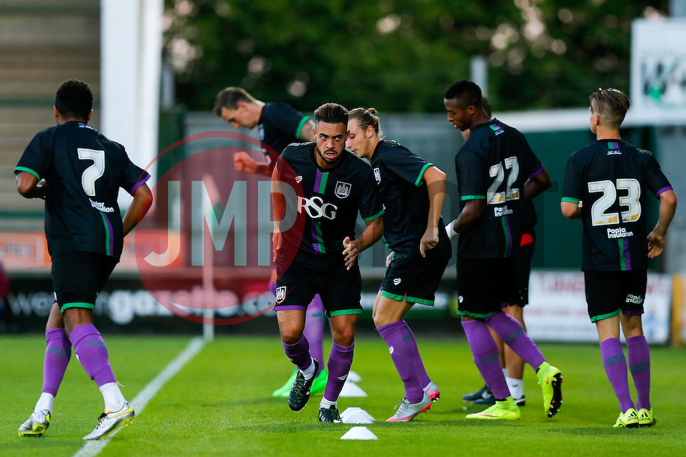Derrick Williams of Bristol City warms up before the second half - Mandatory byline: Rogan Thomson/JMP - 07966 386802 - 30/07/2015 - FOOTBALL - Huish Park Stadium - Yeovil, England - Yeovil Town v Bristol City - Pre Season Friendly.