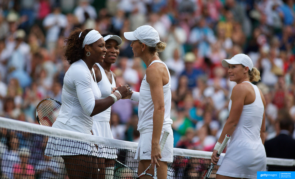 Sam Stosur (right) and Rennae Stubbs, Australia, congratulate Serena and Venus Williams, USA, in the Ladies Doubles Final at the All England Lawn Tennis Championships at Wimbledon, London, England on Saturday, July 04, 2009. Photo Tim Clayton