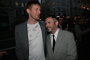 Michael Raedecker and Jake Miller, Michael Raedecker  private view.  Hauser and Wirth. 20 September 2007. -DO NOT ARCHIVE-© Copyright Photograph by Dafydd Jones. 248 Clapham Rd. London SW9 0PZ. Tel 0207 820 0771. www.dafjones.com.